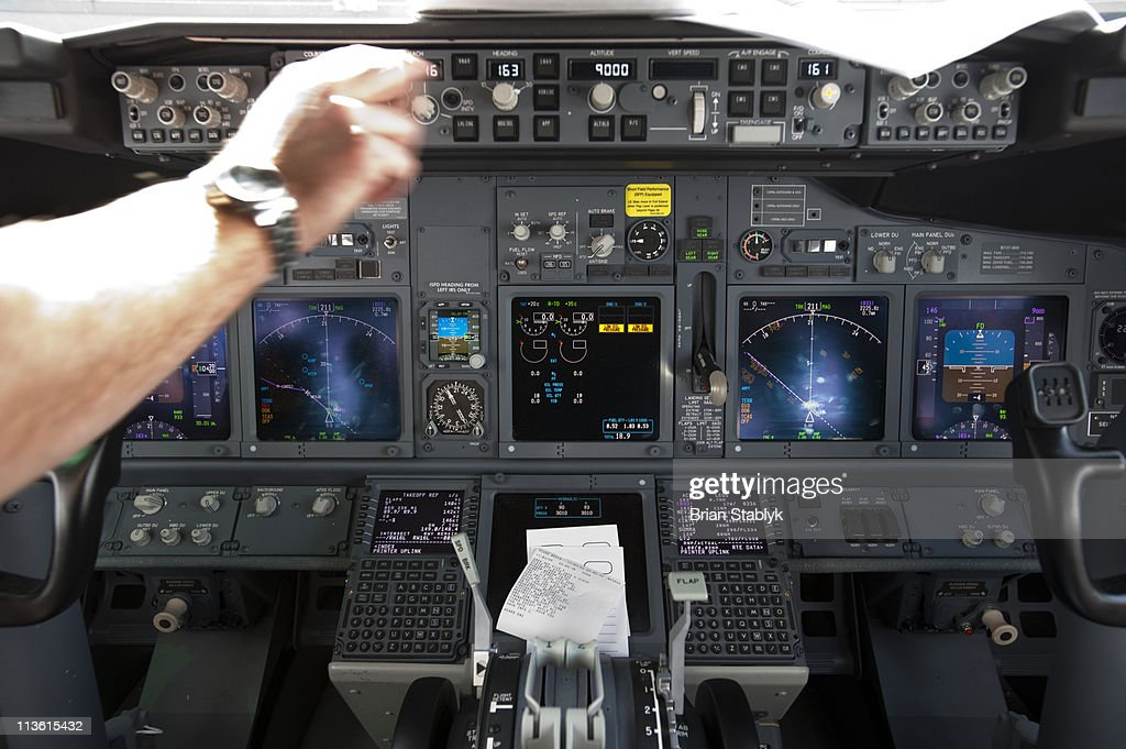 Control Panel in Airplane Cockpit : Stock Photo