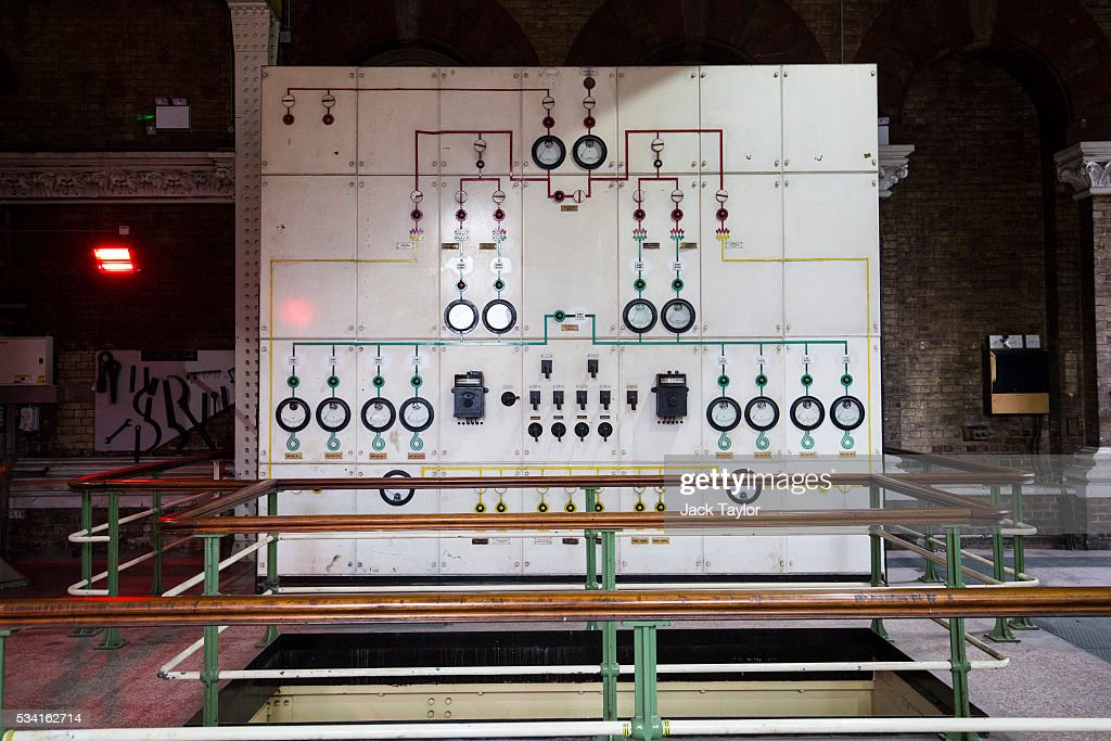 A control panel inside The Abbey Mills pumping station in Stratford on May 25, 2016 in London, England. The Grade II listed building, designed by British engineer Joseph Bazalgette to lift sewage from the low-lying areas of north London, was completed in 1868. Thames Water marks Sewage Week this week with a series of events inviting members of the public down into the underground sewer network and around the Abbey Mills pumping station in east London.