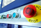 Control panel on machine computer, close-up