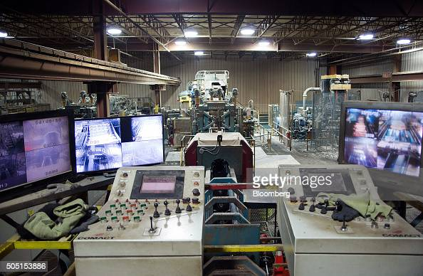 Control panels are seen above the saw mill floor at the Resolute Forest Products facility in Thunder Bay Canada Ontario on Friday Jan 8 2016 Resolute...