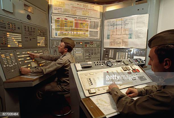 Control room at nuclear missile base outside of Moscow
