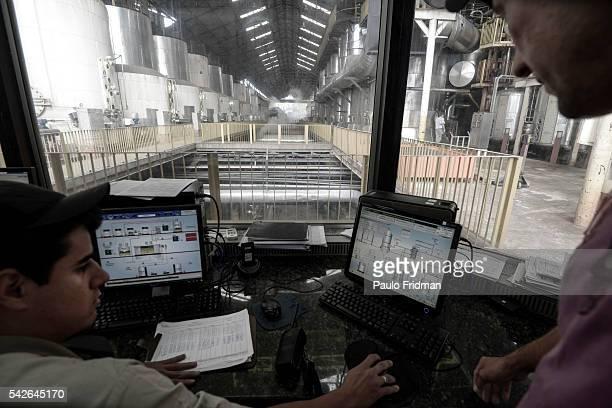 Control room for sugar at Unidade industrial Cruz Alta da Guarani SA ethanol sugar and energy about 40 km from Sao Jose do Rio Preto Brazil on...