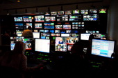 Control room operators at Fox News studios in New York perform a live broadcast of 'America Live' with host Megyn Kelly Fox News Channel celebrated...