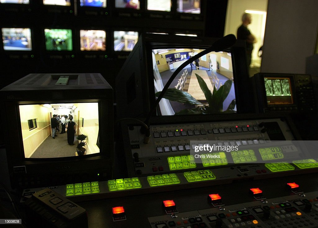A control room with numerous monitors are set up for the new realitybased show 'Big Brother' debuting on CBS July 5 2000 'Big Brother' features ten...
