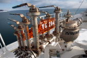 Control valves are seen on the tanker pipeline dock at the liquefied natural gas plant near Korsakov on Sakhalin island a Russian island north of...