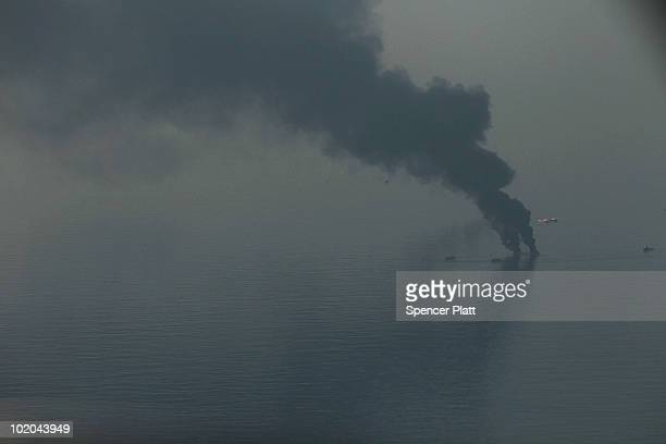 A controlled burn is viewed from the air over the site of the British Petroleum oil well in the Gulf of Mexico on June 13 2010 off the coast of...