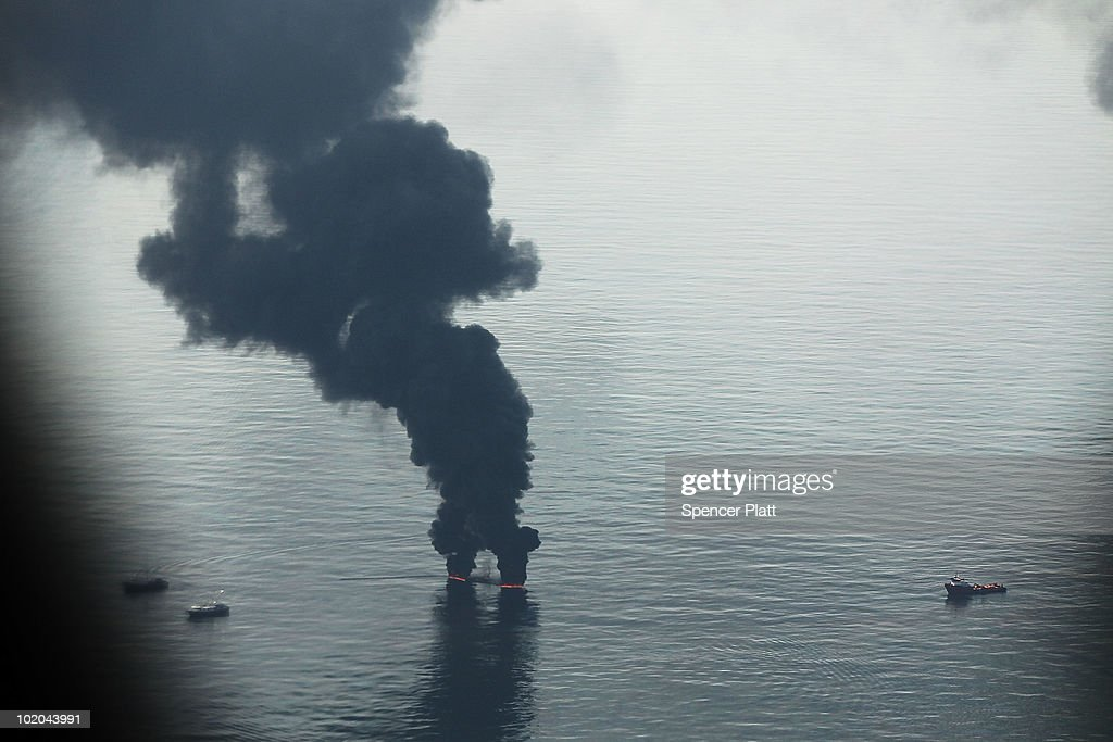 A controlled burn is viewed from the air over the site of the British Petroleum (BP) oil well in the Gulf of Mexico on June 13, 2010 off the coast of Louisiana. The spill has been called the largest environmental disaster in American history. U.S. government scientists have estimated that the flow rate of oil gushing out of a ruptured Gulf of Mexico oil well may be as high 40,000 barrels per day. President Obama will make his fourth trip to the Gulf tomorrow.