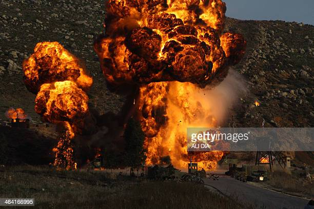 A controlled explosion in set off during the shooting of a movie depicting the story of a member of Shiite movement Hezbollah Amer Kalakesh who blew...