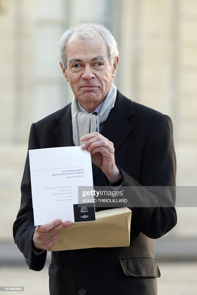 Controller general of Places of Deprivation of Liberty (CGPL) Jean-Marie Delarue arrives to hand over to French president his 2012 activities report on February 18, 2013 at the Elysee Presidential palace in Paris.