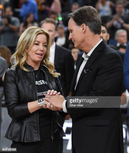 Controlling owner and President of the Los Angeles Lakers Jeanie Buss and AEG Senior Vice President Global Partnerships Mark Faber talk on the court...