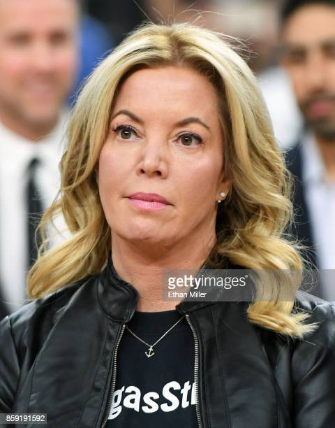 Controlling owner and President of the Los Angeles Lakers Jeanie Buss stands on the court during a moment of silence held to honor victims of last...