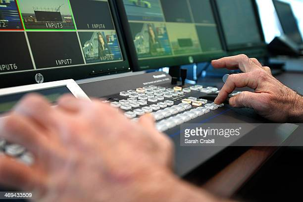 Controls are seen in the control room during the 'Big Hoss TV' Contruction Tour at Texas Motor Speedway on February 14 2014 in Fort Worth Texas