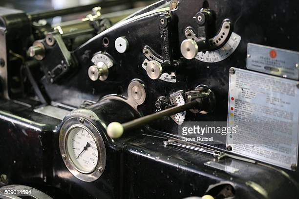 Controls on a Heidelberg offset and letterset press Coach House Press is a small books publisher The press is housed in a couple old coach houses in...