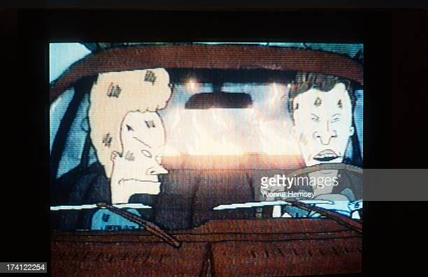 A controversial 'Beavis and Butthead' TV episode promoting burning as fun is photographed October 4 1993 in New York City Darcy Burk the mother of a...