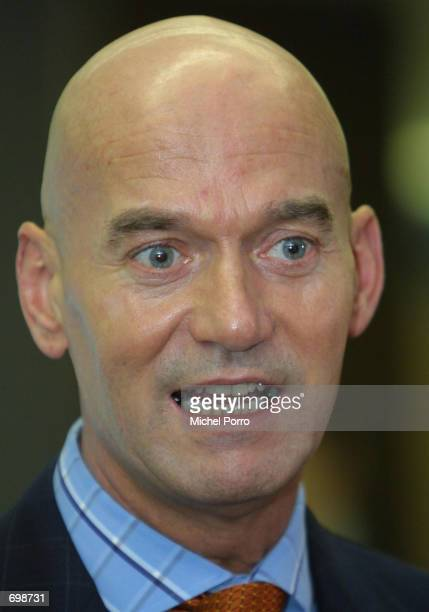 Controversial Dutch rightwing politician Pim Fortuyn speaks to the news media after registering as an independent candidate to participate in the May...