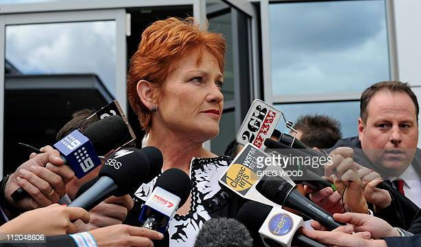 Controversial former Australian politician Pauline Hanson speaks to the media in Sydney after narrowly failing in her bid to win a seat in the New...