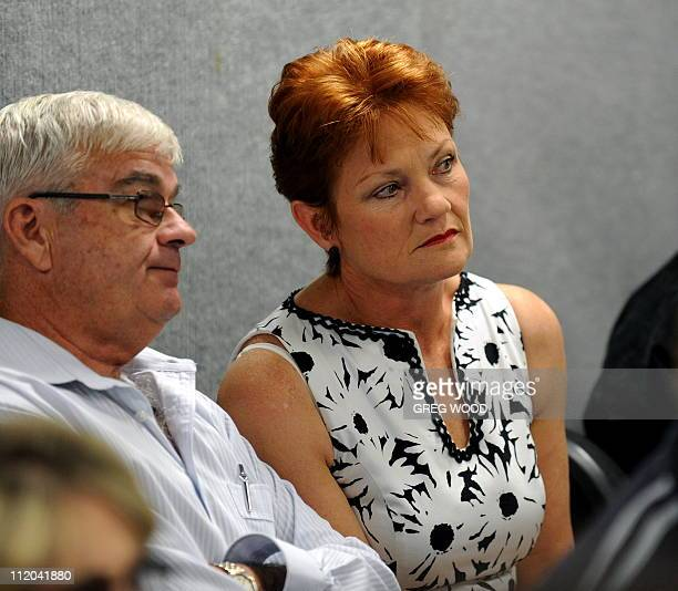 Controversial former Australian politician Pauline Hanson watches the preferences count during her bid to win a seat in the New South Wales...