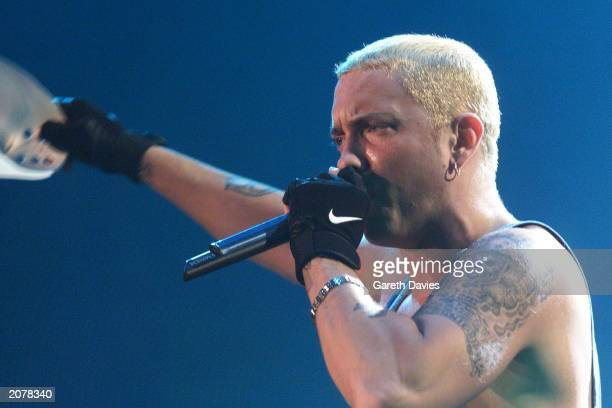 Controversial hip hop artist Eminem on the opening night of his European tour in Hamburg Germany January 30 2001