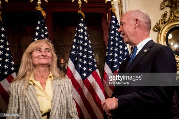 Controversial Montana Republican Greg Gianforte introduces his wife Susan to the press before he is ceremonially sworn in by Speaker of the House...