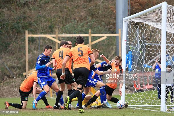 A controversial no goal from FC Halifax Town during the FA Trophy Semi Final Second Leg match between FC Halifax Town and Nantwich Town at The Shay...