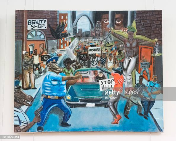A controversial painting by Missouri student David Pulphus depicting police as animals hangs in the tunnel connecting the US Capitol to the Cannon...