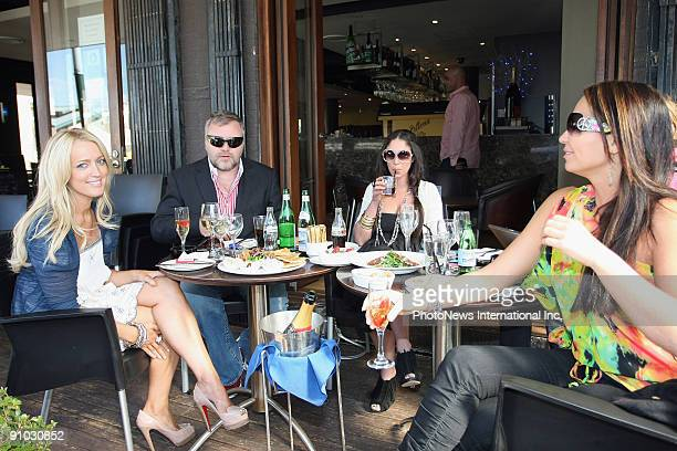 Controversial radio DJ Kyle Sandilands and his cohost Jackie O lunch together on Woolloomoolo Wharf on September 23 2009 in Sydney Australia