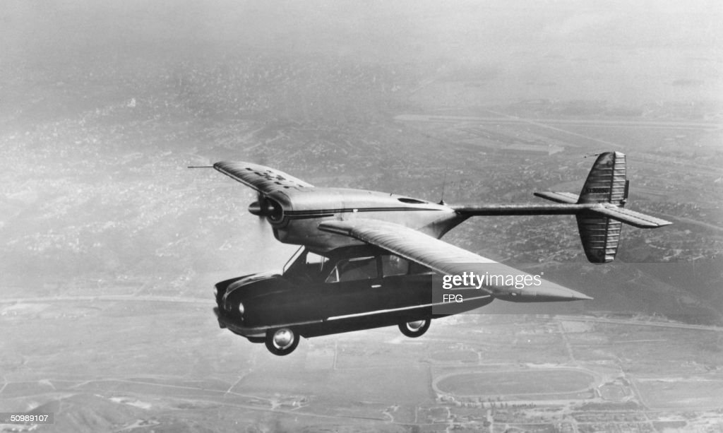 A ConVairCar Model 118 flying car during a testflight California November 1947 The hybrid vehicle was designed by Theodore P Hall for the...