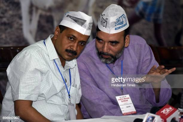 Convener and Chief Minister of Delhi Arvind Kejriwal with AAP leader Gopal Rai and others during the National Farmer Conclave representative from...