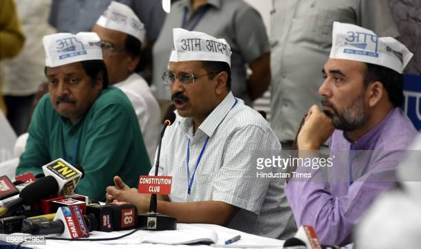 Convener and Chief Minister of Delhi Arvind Kejriwal with AAP leaders Gopal Rai Ashok Aggarwal and others during the National Farmer Conclave...