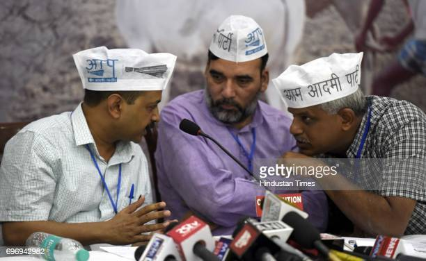 Convener and Chief Minister of Delhi Arvind Kejriwal with AAP leaders Pankaj Gupta Gopal Rai and others during the National Farmer Conclave...