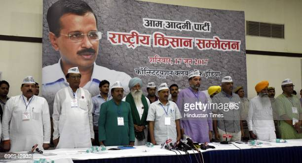 Convener and Chief Minister of Delhi Arvind Kejriwal with party leaders during the National Farmer Conclave representative from across the country...