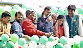 AAP convener and chief ministerial candidate Arvind Kejriwal addressing supporters along with party leader Kumar Vishwas Ashutosh Ashish Khetan...
