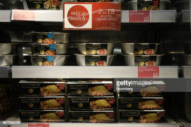 Convenience meals from the 'Gastropub' food range sit on display in the foodhall inside a branch of Marks Spencer Group Plc in London UK on Tuesday...