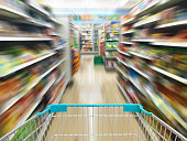 convenience store shelves with shopping cart, motion blur