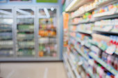 convenience store shelves blurred background