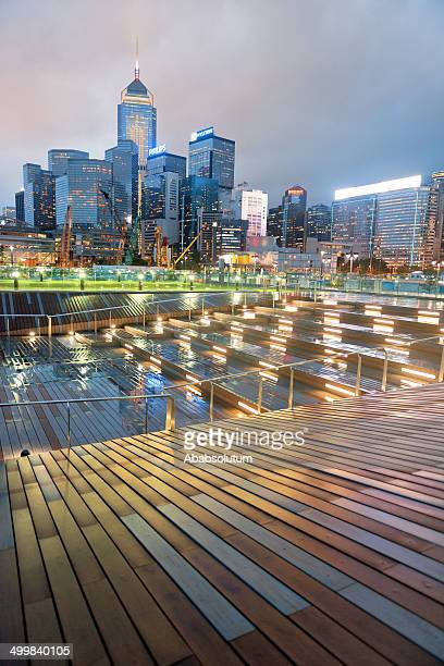 Convention Center and Central Plaza, Rainy Evening, Hong Kong