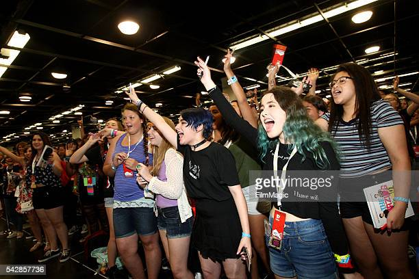 Convention goers line up to see their favorite stars during VidCon at the Anaheim Convention Center on June 24 2016 in Anaheim California