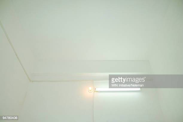 Conventional light bulb with fluorescent light illuminated in a room, Zhongshan, China