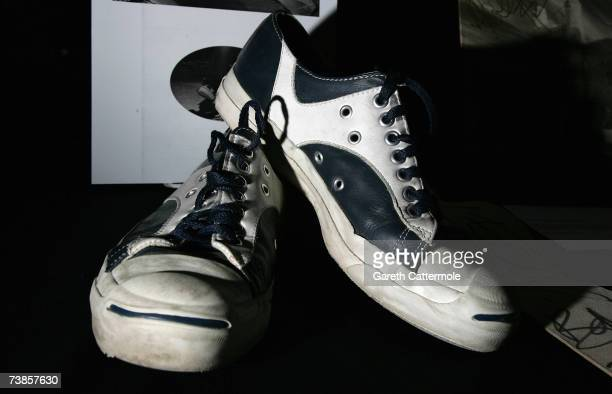 Converse trainers worn by The Edge of U2 go on display at 'The Icons Of Music' Auction Benefitting Music Rising held at The Hard Rock Cafe on April...