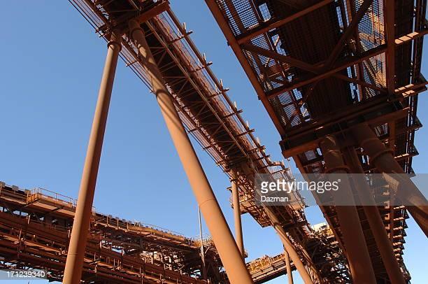 Conveyor belts at an ore process facility.