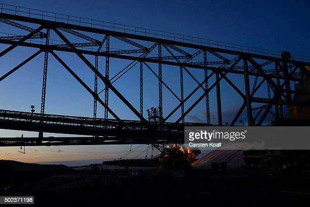 A conveyor bridge the CottbusNord openpit lignite coal mine during an event to mark the mine's closure on December 23 2015 near Cottbus Germany The...