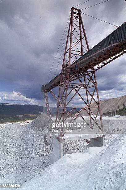 A conveyor carries crushed rock containing copper ore to the processing mill at the Highland Valley Copper Mine in British Columbia Highland is the...