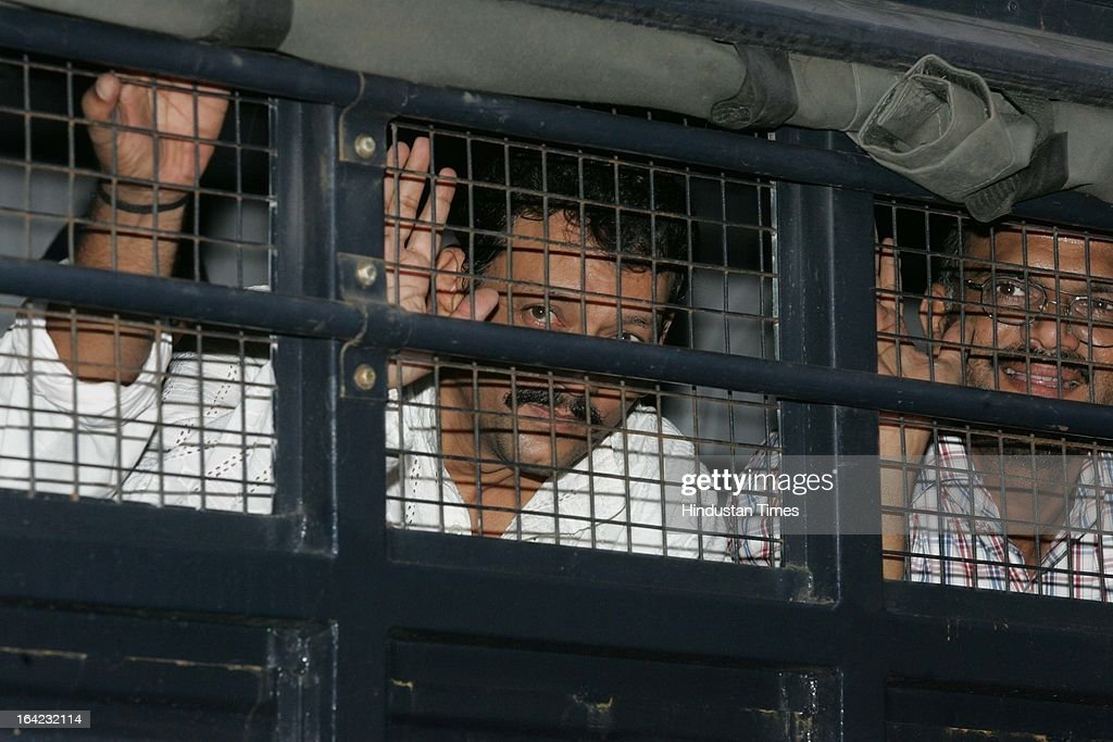 TADA convict Shoeibh Ghansar and Asgar Mukadam leaving out of the Arthur Road jail after they were sentenced to death in 1993 Mumbai serial blast case Street on July 19, 2007 in Mumbai, India. On March 21, 2013 after 20-year-long judicial proceedings in 1993 Mumbai Serial Bomb Blasts Case, Supreme Court upheld the death sentence of Yakub Abdul Razak Memon, a key conspirator with Dawood Ibrahim in the 1993 Mumbai serial blasts, and ordered that Bollywood actor Sanjay Dutt return to jail to serve three-and-a-half years sentence for possessing illegal arms. 257 people were killed in serial blasts in Mumbai on March 12, 1993.