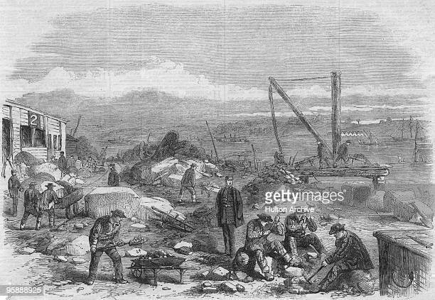 Convicts labouring at St Mary's Convict Prison on St Mary's Island Chatham Kent 1861 It opened in 1856 to house the prisoners from the prison hulks...