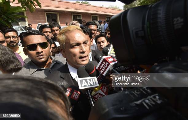 Convicts lawyer A P Singh briefing media persons after the Supreme Court pronounced verdict on the appeals filed by four death row convicts against...