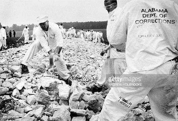 Convicts on a chain gang from Limestone Correctional Facility break rocks | Location Harvest Alabama United States