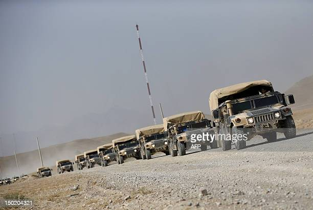 A convoy of Hummer H1 vehicles part of trainings and tactical manoeuvres operated by French Army's mentors members of the 'Epidote' unit for soldiers...