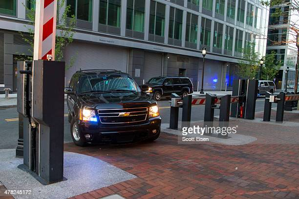 A convoy of law enforcement vehicles brings Boston Marathon Bomber Dzhokar Tsarnaev to John Joseph Moakley United States Court House on June 24 2015...