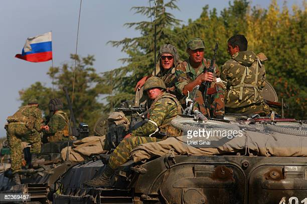A convoy of Russian armour heads along the main road from Gori towards Tblisi as the tense standoff on the north of Georgia continued on August 15...