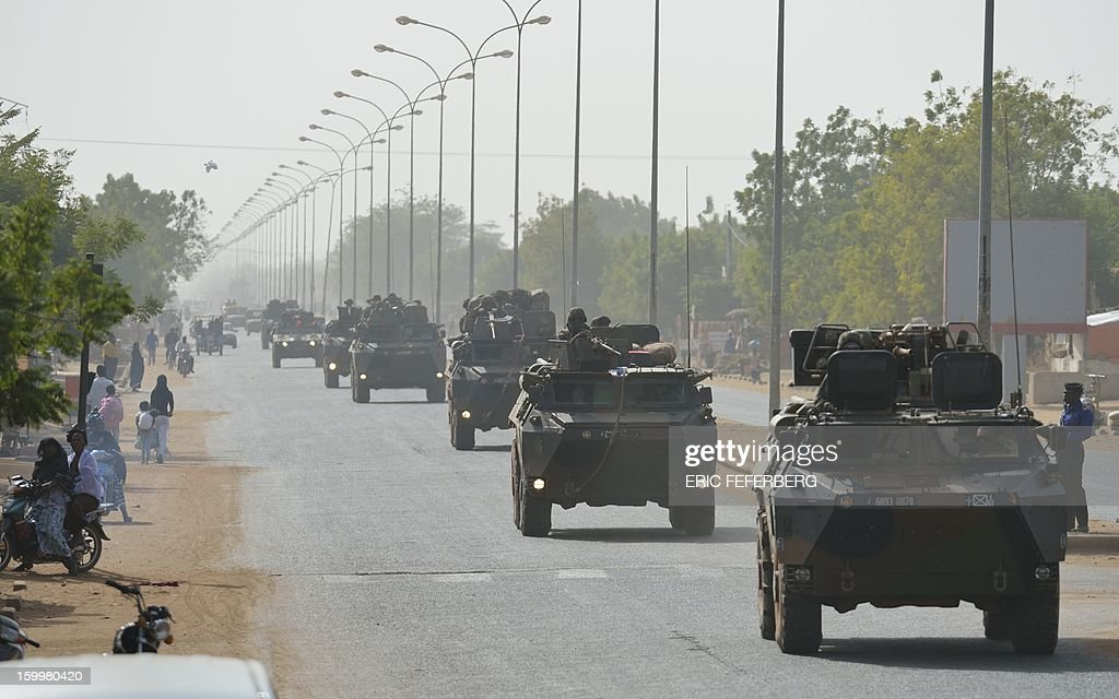A convoy of the French army coming from Bamako and going to Daibali (400km north of Bamako) is pictured on January 24, 2013 in Segou. Paris sent in its forces on January 11 to rescue Mali from Al Qaeda-linked groups controlling the north.